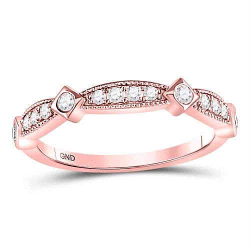 10kt Rose Gold Womens Round Diamond Milgrain Band Ring 1/4 Cttw