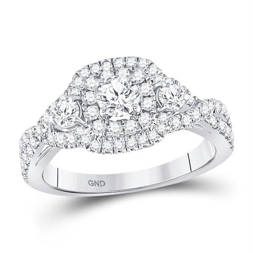 14kt White Gold Womens Round Diamond 3-stone Twist Bridal Wedding Engagement Ring 1.00 Cttw