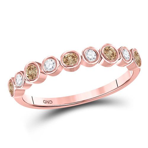 10kt Rose Gold Womens Round Brown Color Enhanced Diamond Band Ring 1/3 Cttw - 128286