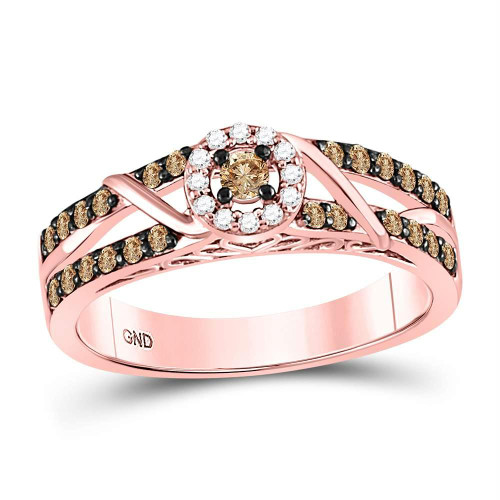 10kt Rose Gold Womens Round Brown Color Enhanced Diamond Solitaire Bridal Wedding Engagement Ring 3/8 Cttw