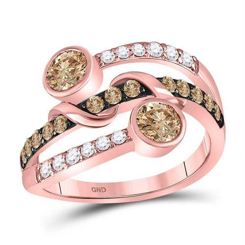 10kt Rose Gold Womens Round Brown Color Enhanced Diamond Strand Band Ring 1.00 Cttw