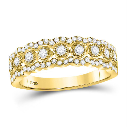 10kt Yellow Gold Womens Round Diamond Triple Row Vintage-inspired Band Ring 1/3 Cttw
