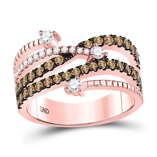 10kt Rose Gold Womens Round Brown Color Enhanced Diamond Crossover Fashion Ring 1.00 Cttw