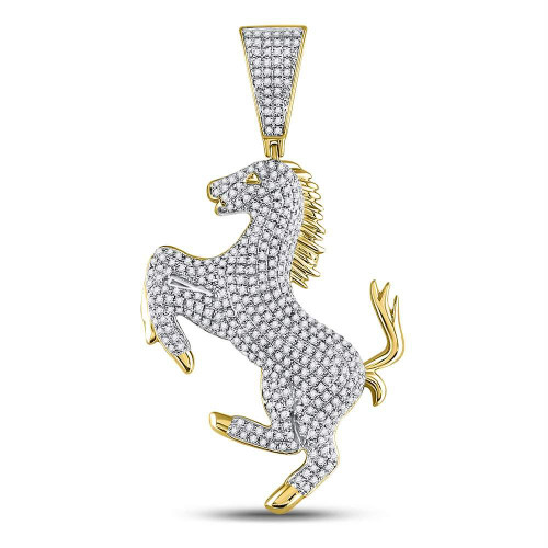 10kt Yellow Gold Mens Round Diamond Pony Horse Charm Pendant 1.00 Cttw