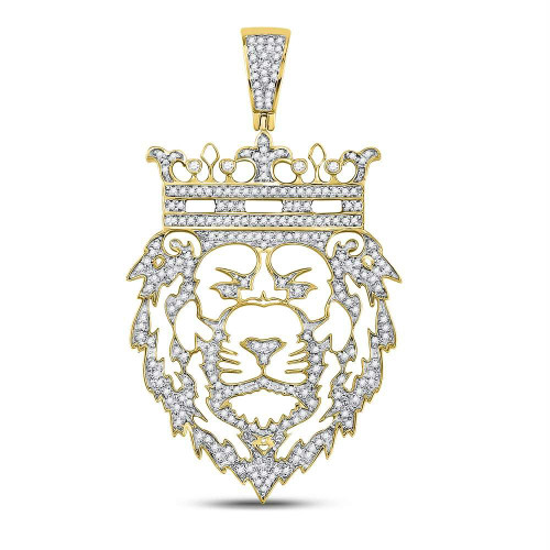 10kt Yellow Gold Mens Round Diamond King Lion Crown Charm Pendant 3/4 Cttw