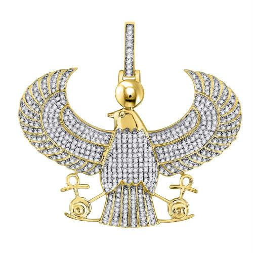 10kt Yellow Gold Mens Round Diamond Eagle Falcon Egyptian Horus Ankh Charm Pendant 1-3/4 Cttw