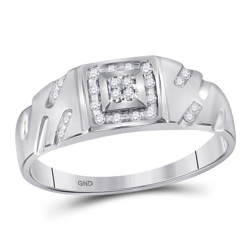 10kt White Gold Mens Round Diamond Square Cluster Ring 1/8 Cttw