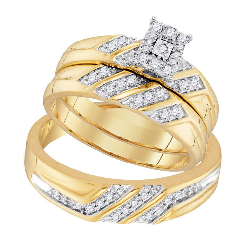 10kt Yellow Gold His & Hers Round Diamond Solitaire Matching Bridal Wedding Ring Band Set 3/8 Cttw - 96744-1.5