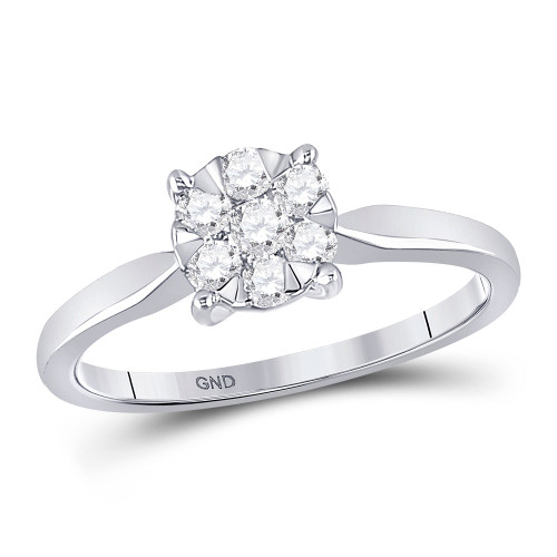 10kt White Gold Womens Round Diamond Flower Cluster Ring 1/3 Cttw - 149210-5.5