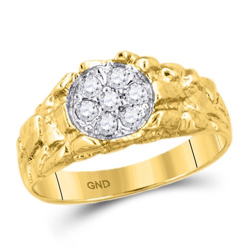 10kt Yellow Gold Mens Round Diamond Cluster Nugget Band Ring 1/4 Cttw