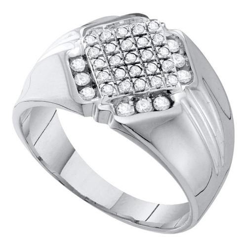 10kt White Gold Mens Round Diamond Diagonal Square Cluster Ring 1/2 Cttw