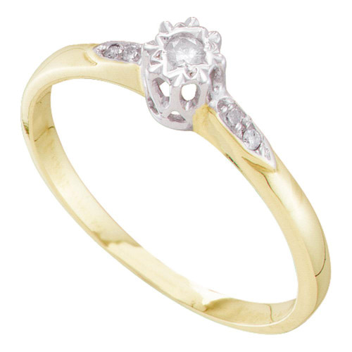 10kt Yellow Gold Womens Round Diamond Solitaire Bridal Wedding Engagement Ring 1/20 Cttw