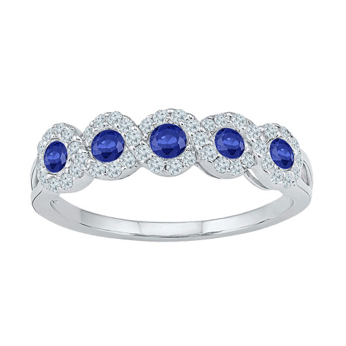 10kt White Gold Womens Round Lab-created Blue Sapphire Band Ring 1/2 Cttw - 109657-4.5