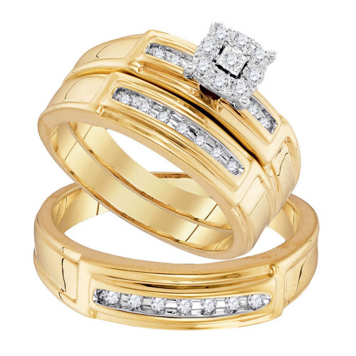10kt Yellow Gold His & Hers Round Diamond  Matching Bridal Wedding Ring Band Set 1/4 Cttw