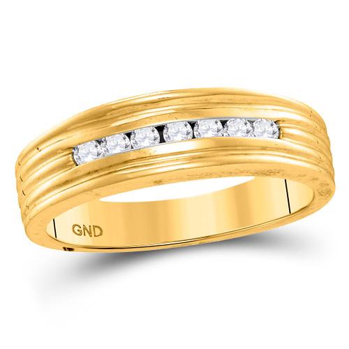 10kt Yellow Gold Mens Round Diamond Wedding Band Ring 1/4 Cttw - 110092-10