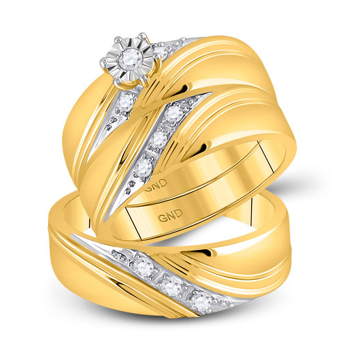 10kt Yellow Gold His & Hers Round Diamond Solitaire Matching Bridal Wedding Ring Band Set 1/4 Cttw - 115392-8.5