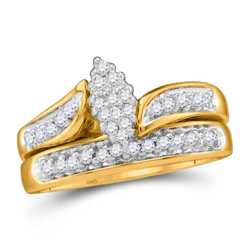 10kt Yellow Gold Womens Round Diamond Bridal Wedding Engagement Ring Band Set 1/4 Cttw - 21650-10.5