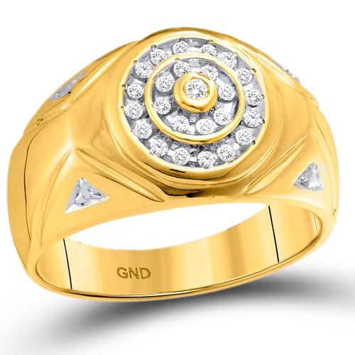 10kt Yellow Gold Mens Round Diamond Concentric Circle Cluster Ring 1/4 Cttw