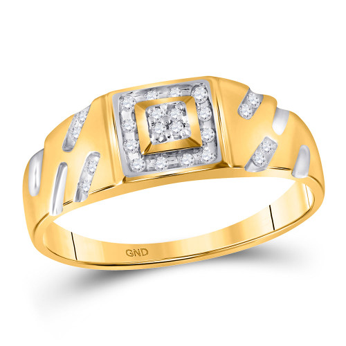 10kt Yellow Gold Mens Round Diamond Square Cluster Ring 1/8 Cttw