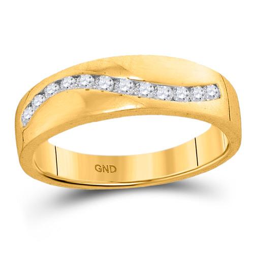 10kt Yellow Gold Mens Round Diamond Wedding Band Ring 1/4 Cttw - 94075-13