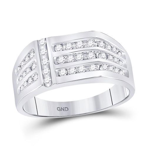 14kt White Gold Mens Round Diamond Triple Row Fashion Ring 1/2 Cttw