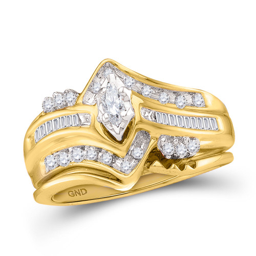 14kt Yellow Gold Womens Marquise Diamond Bridal Wedding Engagement Ring Band Set 1/4 Cttw - 15458-5.5