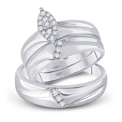 10kt White Gold His & Hers Round Diamond Cluster Matching Bridal Wedding Ring Band Set 1/4 Cttw - 97999-8.5