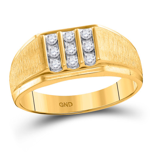 10kt Yellow Gold Mens Round Diamond Cluster Ring 1/4 Cttw - 97626-11.5