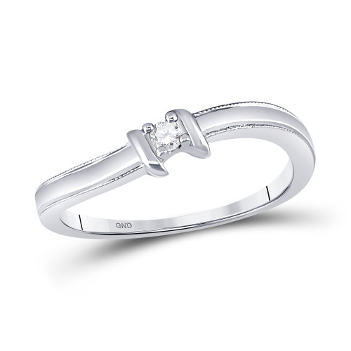 10kt White Gold Womens Round Diamond Solitaire Promise Bridal Ring 1/20 Cttw - 35488-8.5