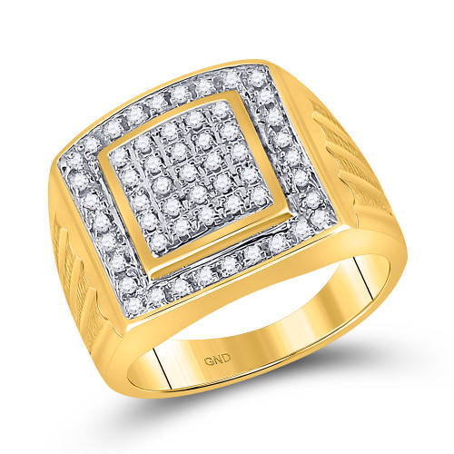 10kt Yellow Gold Mens Round Diamond Square Cluster Ring 1/2 Cttw - 11186-9.5