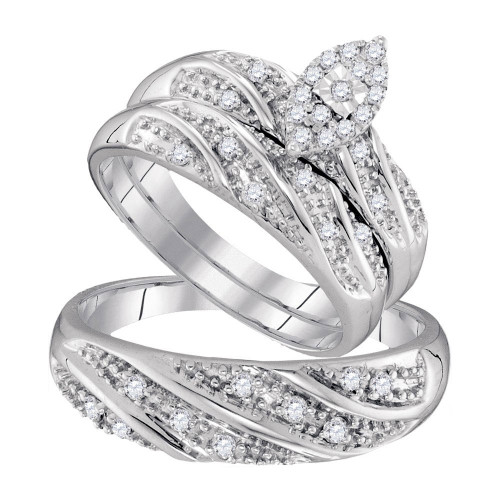 10kt White Gold His & Hers Round Diamond Cluster Matching Bridal Wedding Ring Band Set 1/3 Cttw - 96776-5