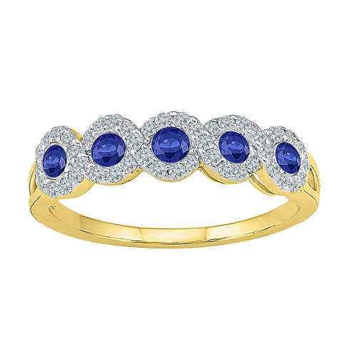 10kt Yellow Gold Womens Round Lab-created Blue Sapphire Band Ring 1/2 Cttw - 109653-7.5