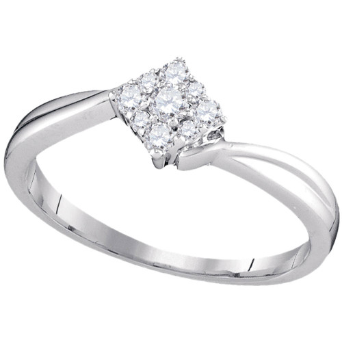 10kt White Gold Womens Round Diamond Diagonal Square Cluster Ring 1/5 Cttw - 97227-8.5