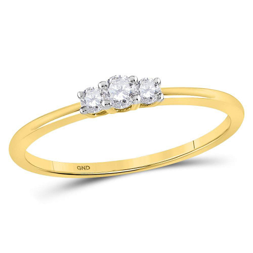10kt Yellow Gold Womens Round Diamond 3-stone Promise Bridal Ring 1/6 Cttw
