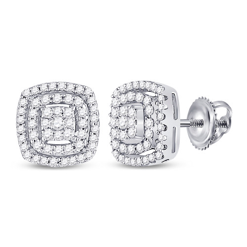 10kt White Gold Womens Round Diamond Square Frame Cluster Earrings 1/4 Cttw - 130115