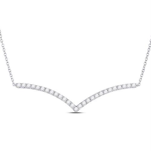 14kt White Gold Womens Round Diamond Fashion Chevron Bar Necklace 1.00 Cttw