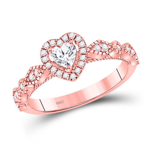 10kt Rose Gold Womens Heart Diamond Solitaire Bridal Wedding Engagement Ring 3/8 Cttw