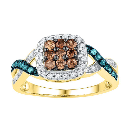10kt Yellow Gold Womens Round Brown Color Enhanced Diamond Cluster Ring 1/2 Cttw