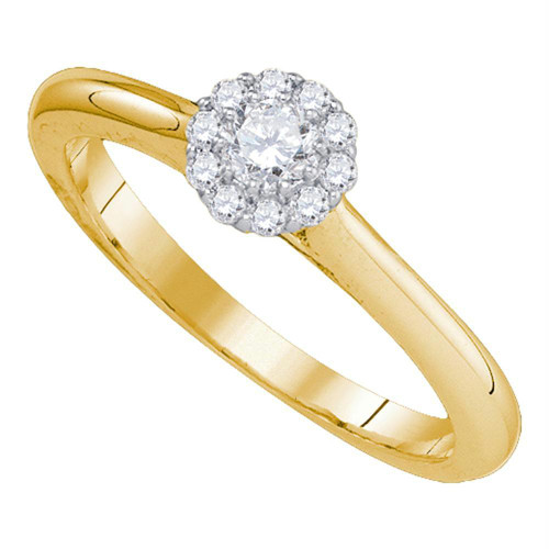 14kt Yellow Gold Womens Round Diamond Solitaire Bridal Wedding Engagement Ring 1/4 Cttw - 81758-6