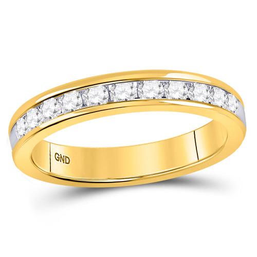 14kt Yellow Gold Womens Round Diamond Single Row Wedding Band 1/2 Cttw - 40817