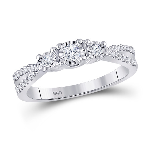 10kt White Gold Womens Round Diamond 3-stone Bridal Wedding Engagement Ring 1/3 Cttw - 149943