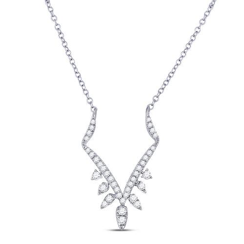14kt White Gold Womens Round Diamond Fashion Necklace 1/2 Cttw