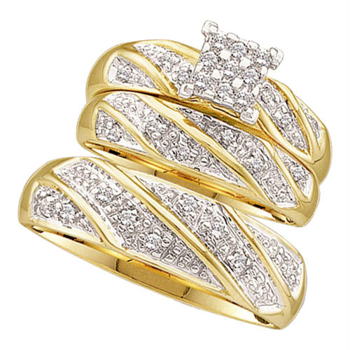 10kt Yellow Gold His & Hers Round Diamond Cluster Matching Bridal Wedding Ring Band Set 1/4 Cttw - 46893-8.5