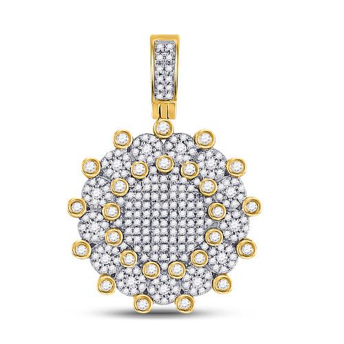 10kt Yellow Gold Mens Round Diamond Circle Charm Pendant 1.00 Cttw