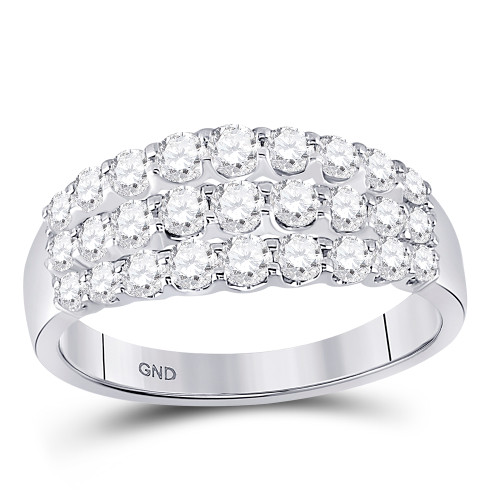 14kt White Gold Womens Round Diamond Triple Row Band Ring 1.00 Cttw - 149240