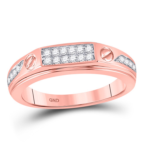 10kt Rose Gold Mens Round Diamond Screw Band Ring 1/5 Cttw
