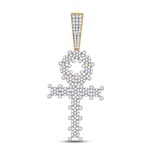 10kt Yellow Gold Mens Round Diamond Ankh Cross Charm Pendant 2.00 Cttw