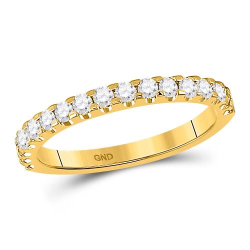 14kt Yellow Gold Womens Round Diamond Single Row Wedding Band 1/2 Cttw - 149134