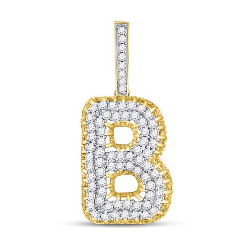 10kt Yellow Gold Mens Round Diamond Letter B Charm Pendant 1-3/8 Cttw