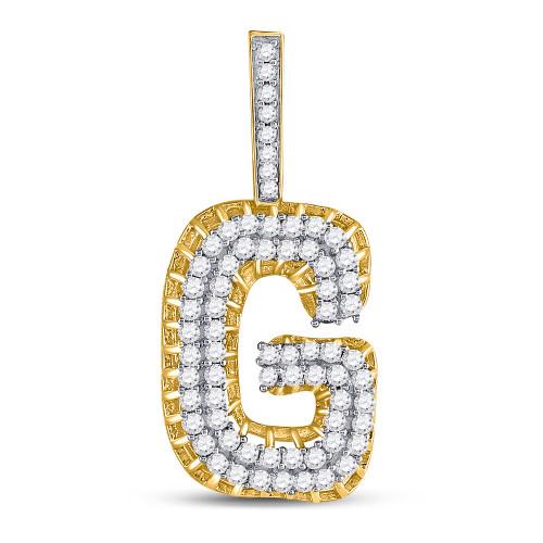 10kt Yellow Gold Mens Round Diamond Letter G Charm Pendant 1-3/8 Cttw